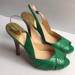 Cole Haan Size 8 Green Slingback peep toe heels